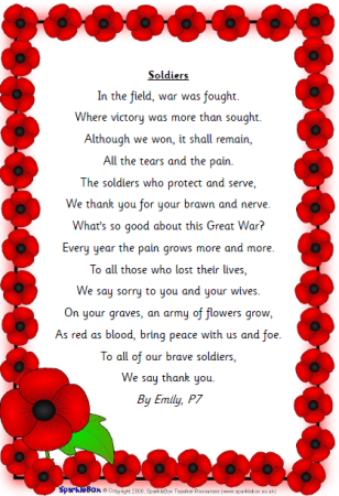 Emily, P7 wrote this poem inspired by everything we have been learning about Remembrance Day