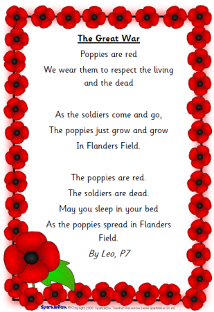 Leo, P7 wrote this poem inspired by Flanders Field